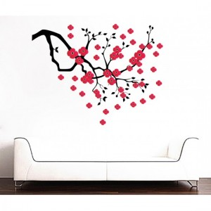 Red Floral Tree Sticker