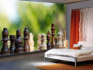 Chess Pieces on a Table