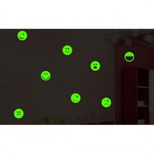 Smiley Night Glowing Decal