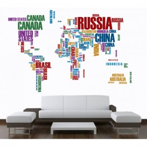 Name World Map Sticker