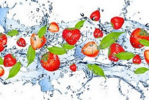 Strawberries Falling in Water