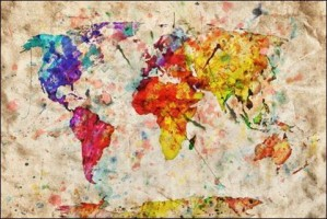 World Map Colorful Paint