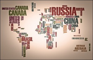 Map Countries in Wordcloud