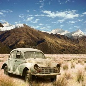 Old Car in a Mountain Landscape