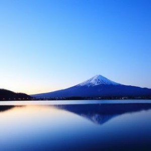 Fuji and Lake at Evening