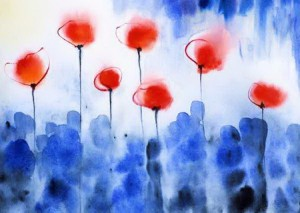 Blue Red Poppies