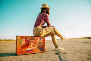 Woman on Suitcase