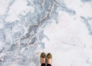 Blue and White Marble Effect Flooring Deep