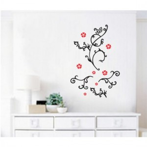 Black Floral Wall Sticker