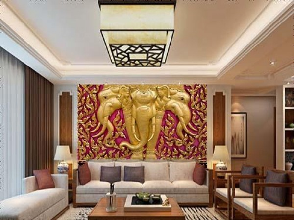 Elephant Carved in Gold Paint